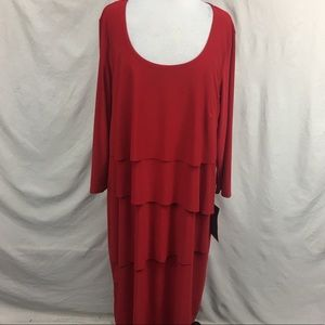 NWT Avenue Red Four Tiered Layer Maxi Dress Sz 18